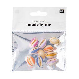 10 Perlen - Mehrfarbige Muscheln - 2...