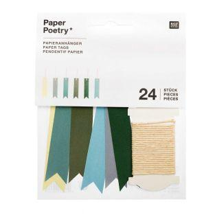 24 pennant labels - Green