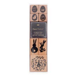 7 Holzstempel mit Stempelkissen - Ostern