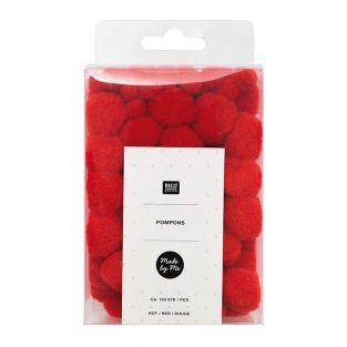 100 Pompons - Red