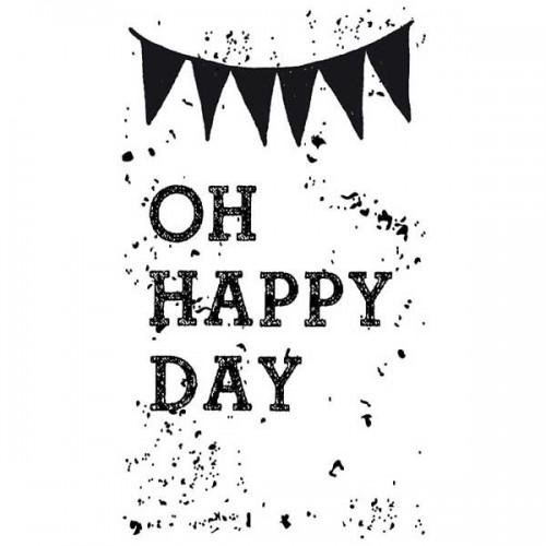 Wooden stamp - Oh Happy Day