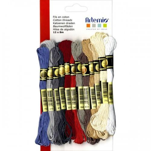12 hilos de algodón multicolor x 8 m - Otoño