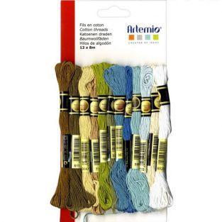 12 mehrfarbigen Baumwollfaden x 8 m -...