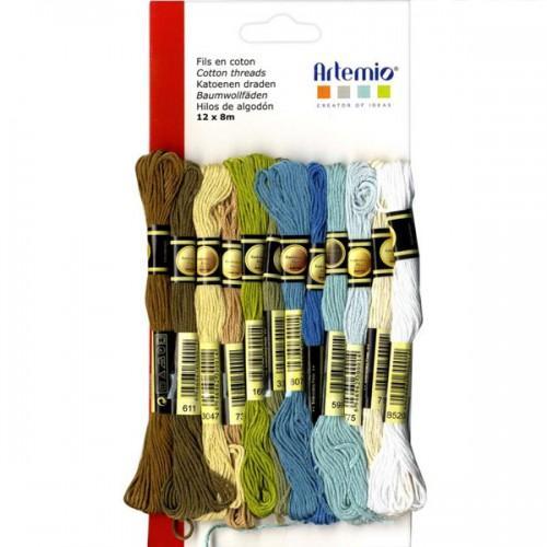 12 hilos de algodón multicolor x 8 m - Invierno