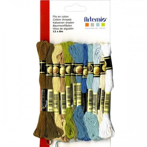12 multicolored cotton thread x 8 m - Winter