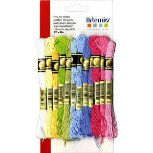12 multicolored cotton thread x 8 m -...