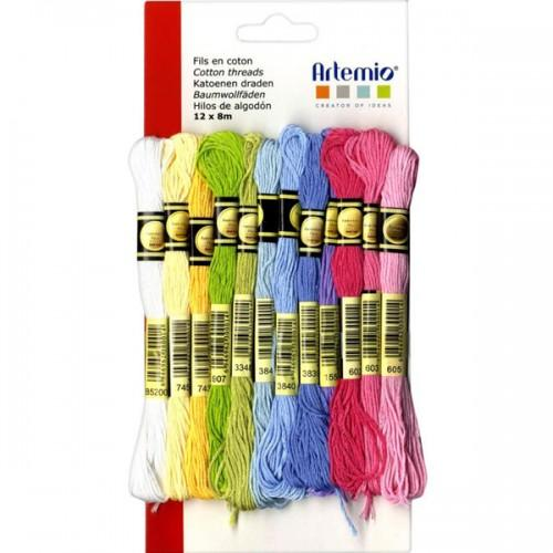 12 multicolored cotton thread x 8 m - Spring