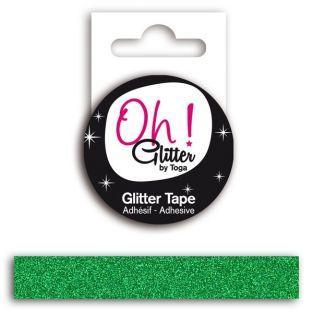 Cinta adhesiva con glitter - verde