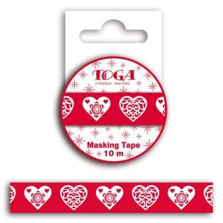 Masking tape Coeur scandinave rouge