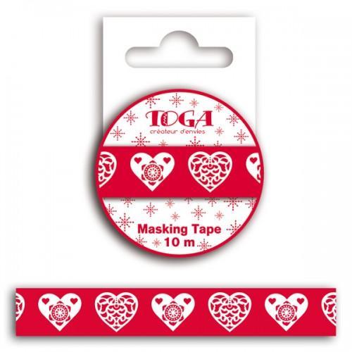 Masking tape Coeur scandinave rouge