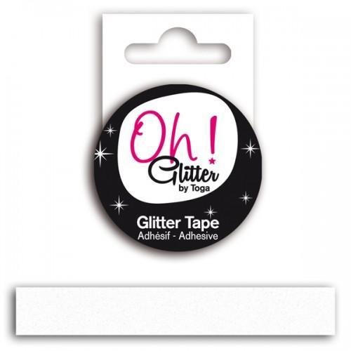 Cinta adhesiva con glitter - blanco