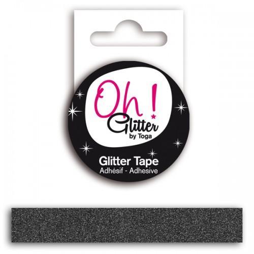 Cinta adhesiva con glitter - negro