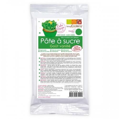 Pâte à sucre verte arôme vanille - 250 g