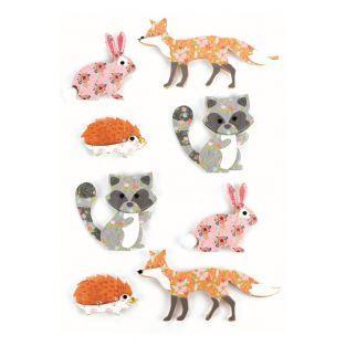 8 pegatinas 3D - Animales del bosque