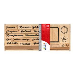 20 sellos de madera escolares