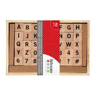 40 sellos de madera alfabeto