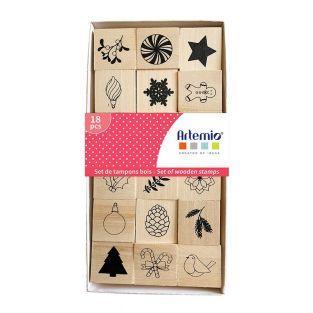Set di 18 francobolli in legno di Natale