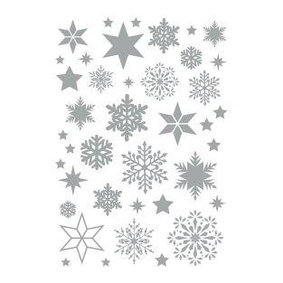 Silber Schneeflocken Aufkleber Blatt