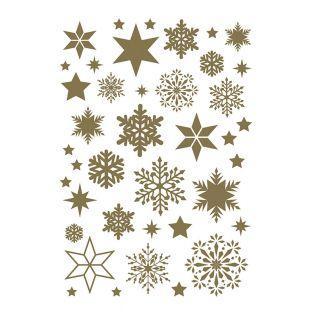Foglio adesivo dorato fiocchi di neve