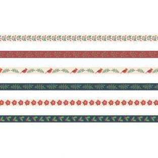 6 cintas impresas 1 m Feliz Navidad