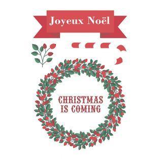 Weihnachten kommt Textil Aufkleber Blatt