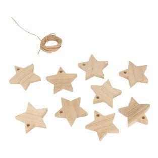 Guirlande en bois 10 étoiles + cordon
