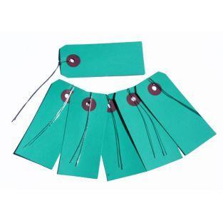 Etiquetas turquesa con alambre