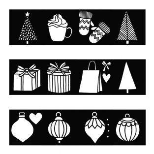Set of 12 Cozy Christmas stencils 9X9cm
