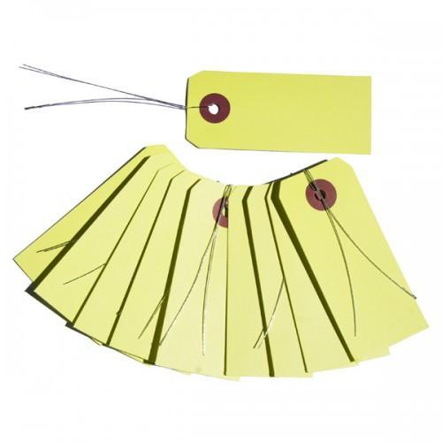 Etiquetas verde-amarillo con alambre