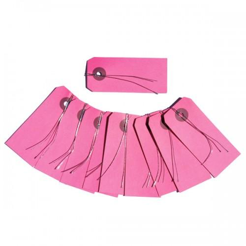 Etiquetas rosa con alambre