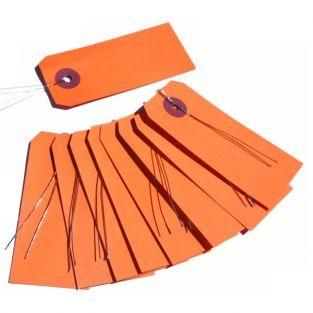 Etiquetas naranja con alambre