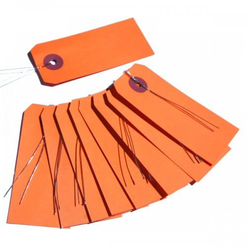 Orange labels with metal wire