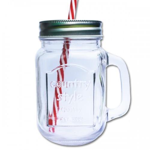 Mug verre avec couvercle Mason Jar