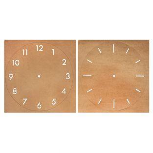 2 pochoirs papier kraft horloge