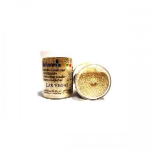 Poudre à embosser transparente à paillettes dorées