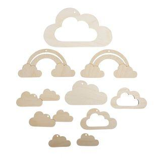 10 Holzanhänger für kleine Wolkenmobile