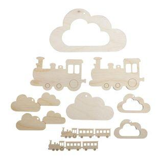 10 wooden pendants for small train...