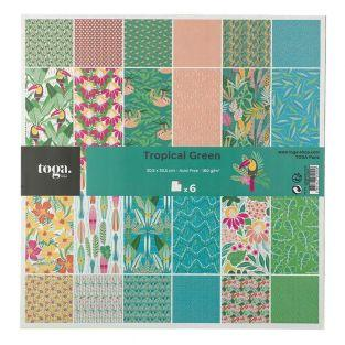 Pack of 6 printed papers Tropical Green