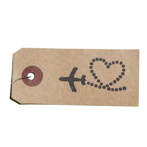 Wooden stamp - Heart & plane