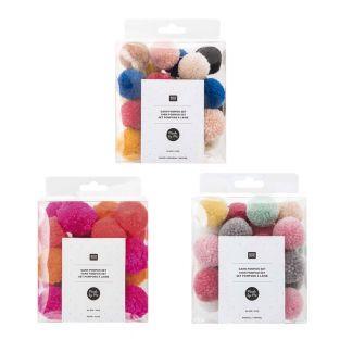 72 pompones de lana natural, pastel y...