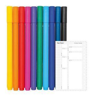 10 stylos gel fin 0,4 mm + Pochoir...
