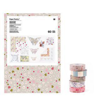 60 hojas para origami + 5 cintas de...