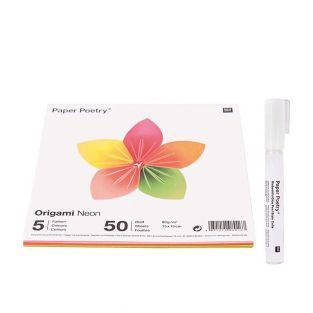 50 feuilles pour origami Fluo + Stylo...