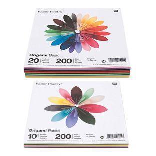 400 hojas para origami Basic + Pastel...