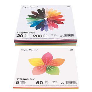 250 hojas para origami Basic + Fluo...