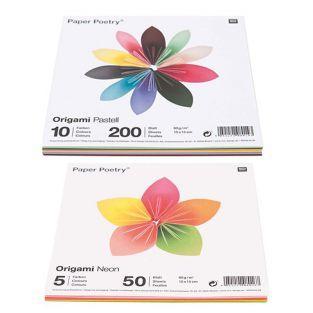 250 hojas para origami Pastel + Fluo...