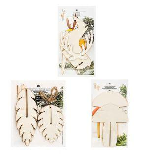 Wooden Christmas decorations pack - 3...