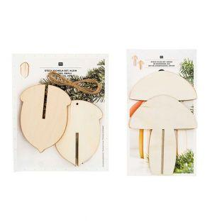 Pack Christmas Wooden Decorations - 3...