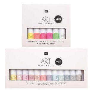 Set de pintura acrílica - 12 Pastel...