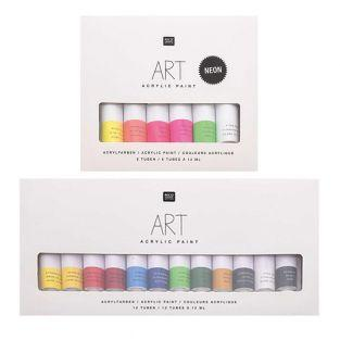 Acrylfarben-Set - Fluo 6 x 12 ml +...